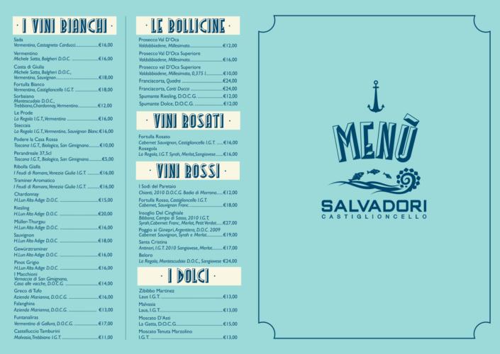 menu ristorante bagni salvadori castiglioncello
